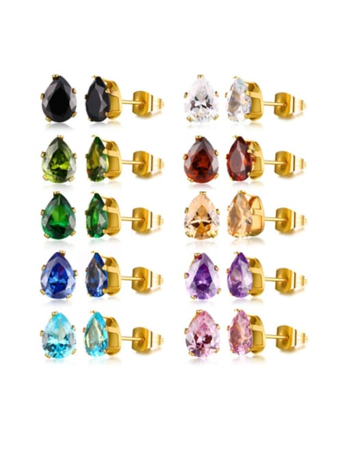 A complete set of styles is sold out Stainless steel Glass Stone Water Drop Vintage Stud Earring