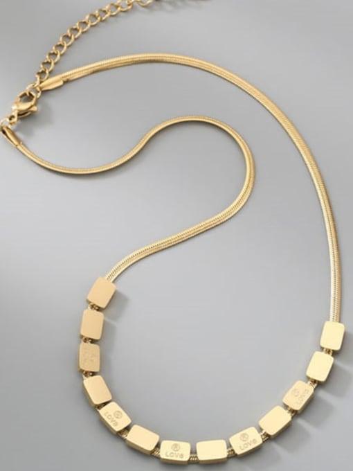 A TEEM Titanium Steel Rhinestone Square Minimalist Necklace 3