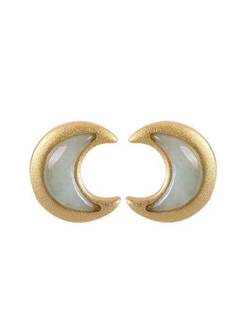 DEER 925 Sterling Silver Jade Moon Cute Stud Earring 3