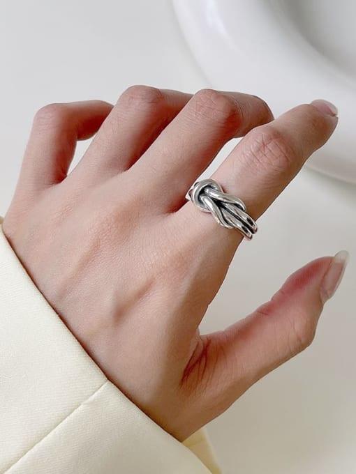 Tandem ring J128 6.8g 925 Sterling Silver Geometric Vintage Band Ring