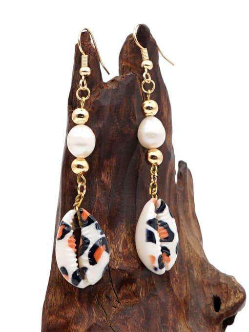 Roxi Stainless steel Freshwater Pearl Irregular Ethnic Long Hook Earring 1