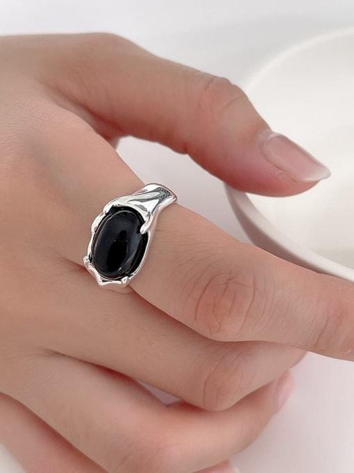 Black Agate Ring j1553 6g 925 Sterling Silver Flower Vintage Black Agate  Band Ring