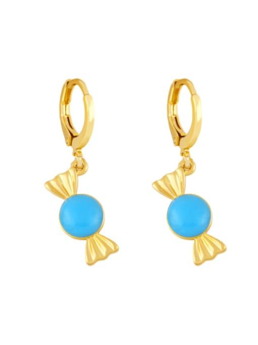 blue Brass Enamel Irregular Candy Trend Huggie Earring