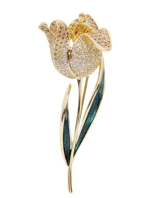 yellow Brass Cubic Zirconia Flower Trend Brooch