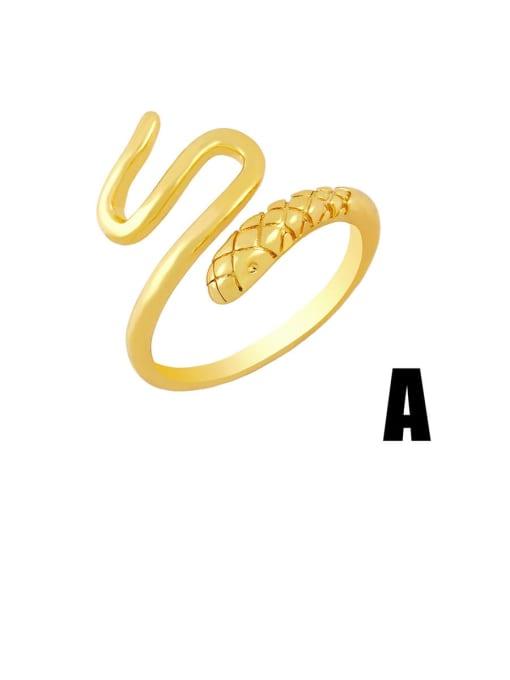 A Brass Rhinestone Snake Hip Hop Band Ring