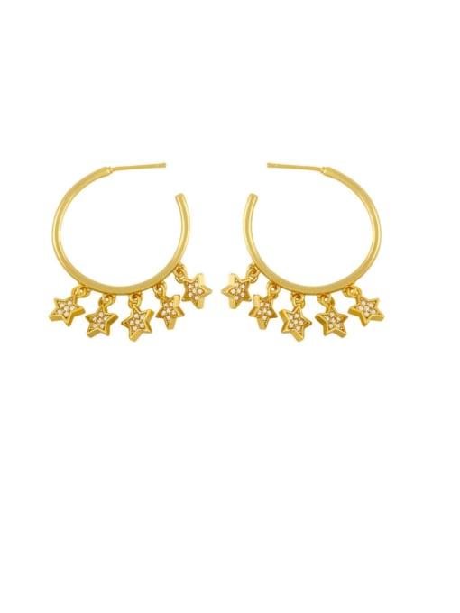 CC Brass Cubic Zirconia Star Vintage Huggie Earring 0