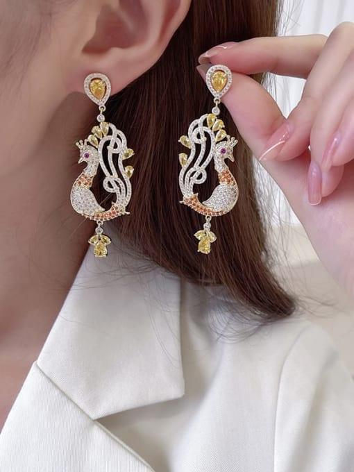 Luxu Brass Cubic Zirconia Irregular  cock Bohemia Drop Earring 2