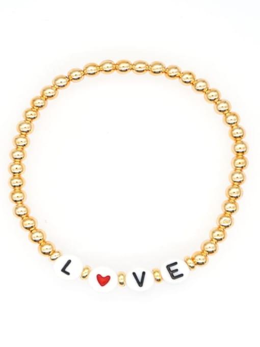 QT B200015I Stainless steel Bead Acrylic Letter Bohemia Beaded Bracelet