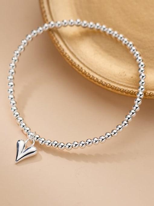 silver 925 Sterling Silver Heart Minimalist Beaded Chain Bracelet
