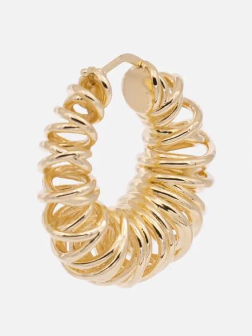 LI MUMU Brass Geometric Hip Hop Huggie Earring 2