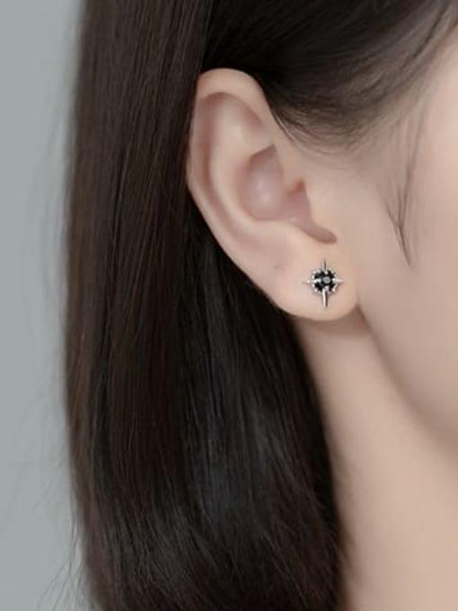 Rosh 925 Sterling Silver Cubic Zirconia Cross Trend Stud Earring 1