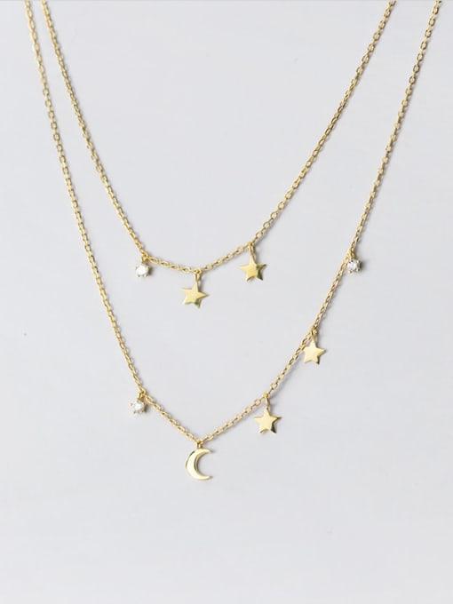 Rosh 925 Sterling Silver Moon Minimalist Multi Strand Necklace 1