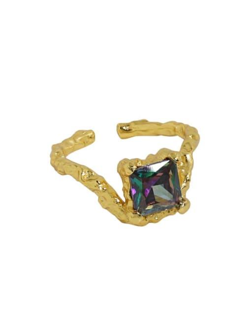 DAKA 925 Sterling Silver Glass Stone Geometric Vintage Band Ring 3