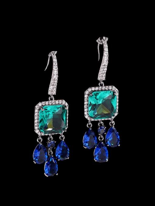 Green + blue Brass Cubic Zirconia Geometric Luxury Hook Earring