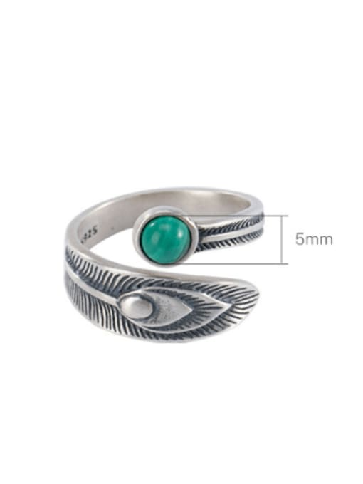 DEER 925 Sterling Silver Malchite Feather Vintage Band Ring 2