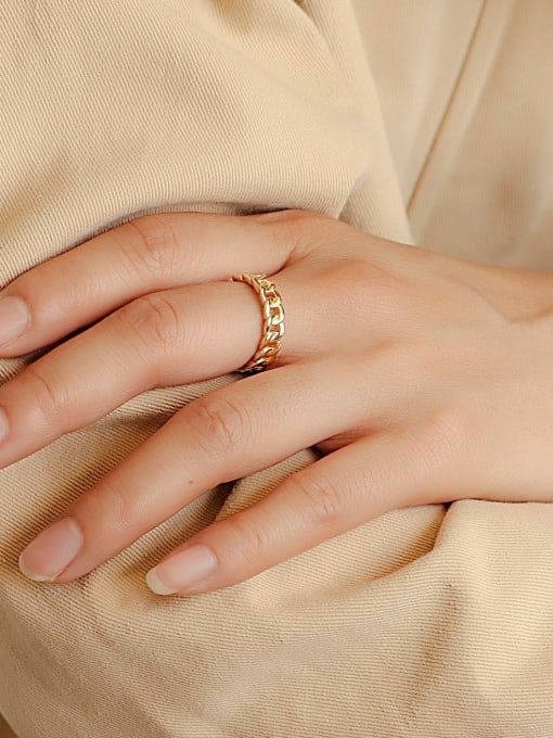 CHARME Brass Hollow Geometric Chain Vintage Band Ring 2