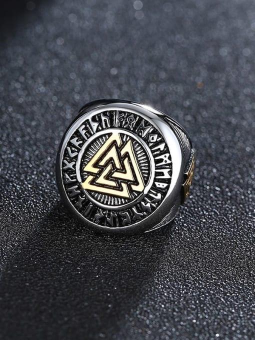 CONG Titanium Steel Irregular Vintage Band Ring 2