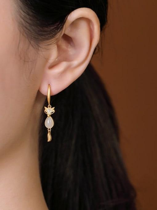 DEER 925 Sterling Silver Jade Fox Cute Hook Earring 1