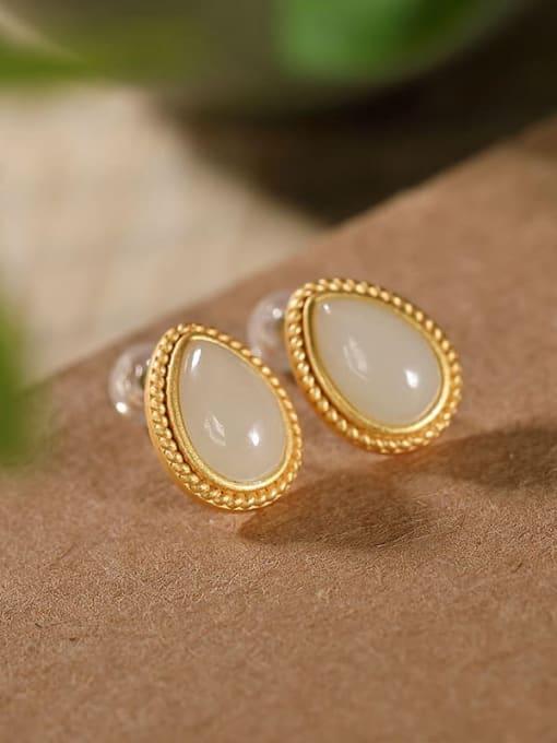 DEER 925 Sterling Silver Jade Water Drop Vintage Stud Earring 0
