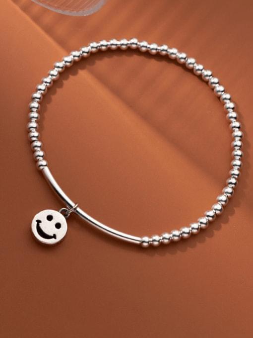 silver 925 Sterling Silver Bead Geometric Minimalist Beaded Bracelet