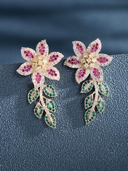 Luxu Brass Cubic Zirconia Flower Statement Cluster Earring 2