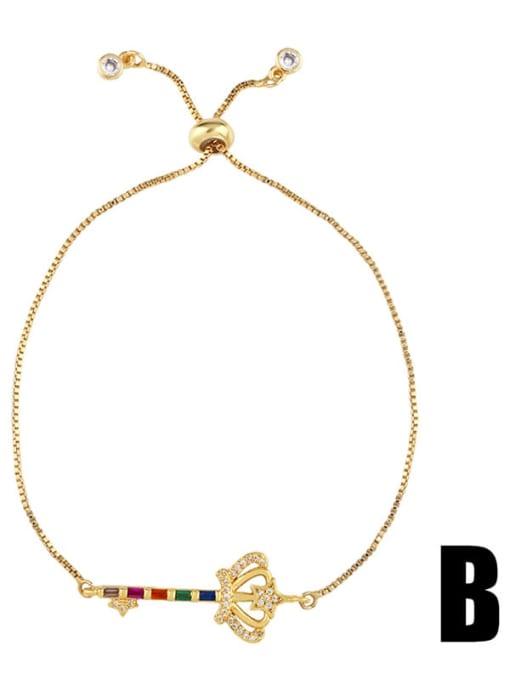 CC Brass Cubic Zirconia Crown Ethnic Adjustable Bracelet 2