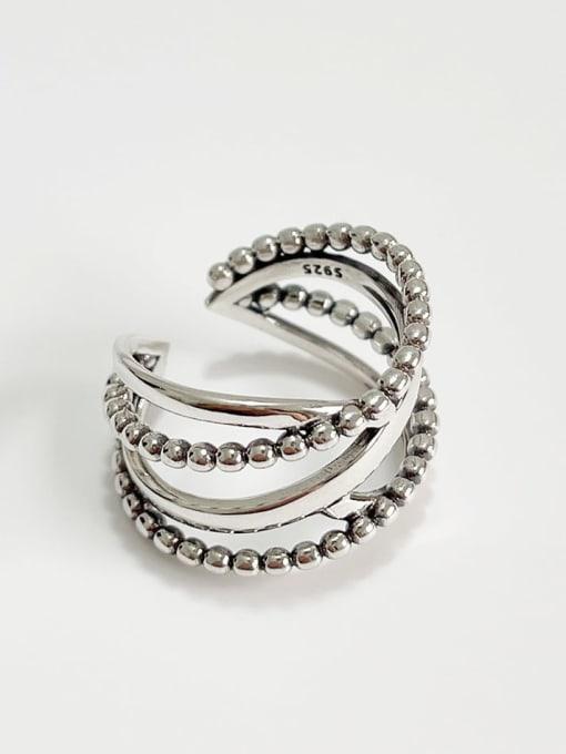 Boomer Cat 925 Sterling Silver Irregular Vintage Stackable Ring