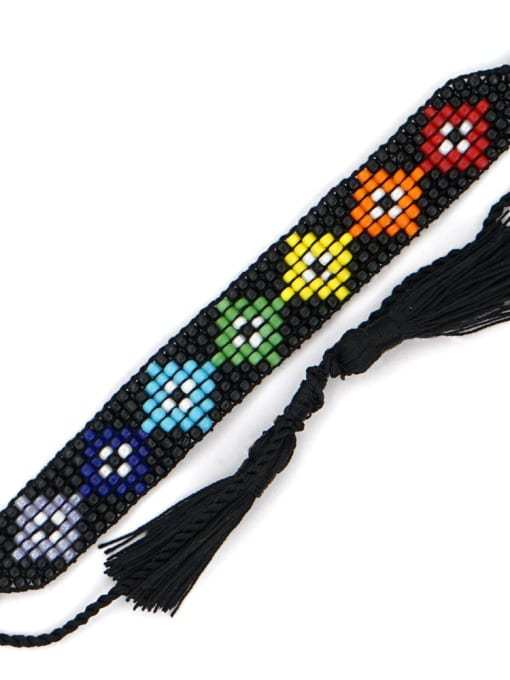 MG B210003A Multi Color GMB Bead Geometric Bohemia Adjustable Bracelet