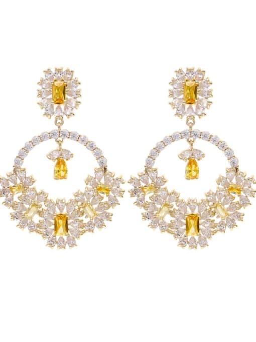 Luxu Brass Cubic Zirconia Flower Statement Drop Earring 2