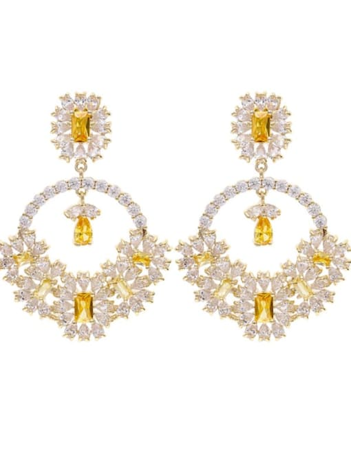 golden Brass Cubic Zirconia Flower Statement Drop Earring