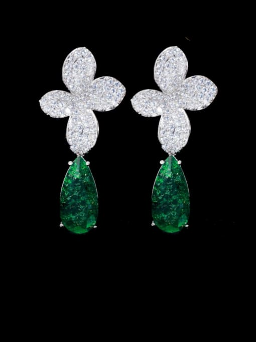Platinum green Brass Cubic Zirconia Flower Statement Drop Earring