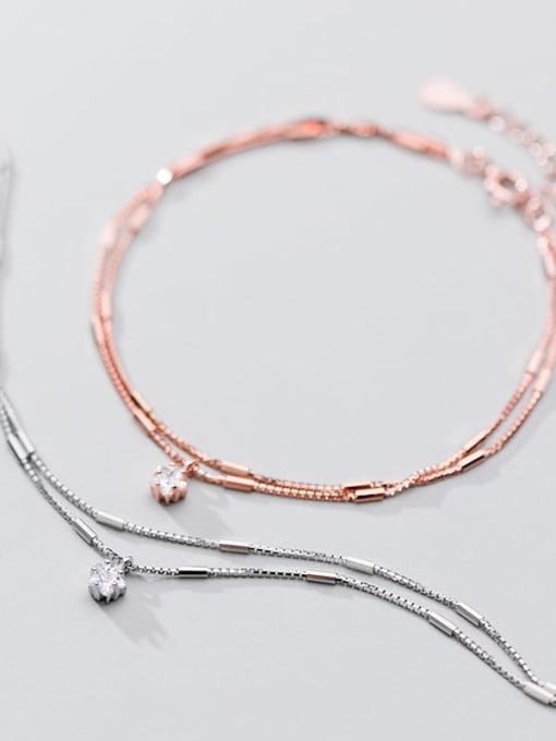 Rosh 925 Sterling Silver  Fashionable simple single diamond double chain   Bracelet 1