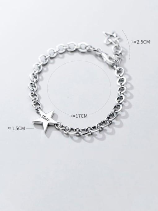 Rosh 925 Sterling Silver  Minimalist  Pentagram hollow chain Link Bracelet 3