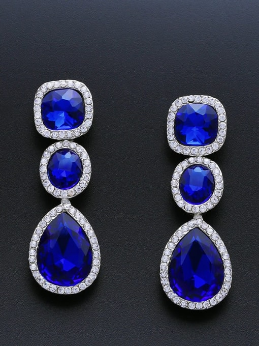 Royal Blue Alloy Glass Stone Water Drop Bohemia Cluster Earring