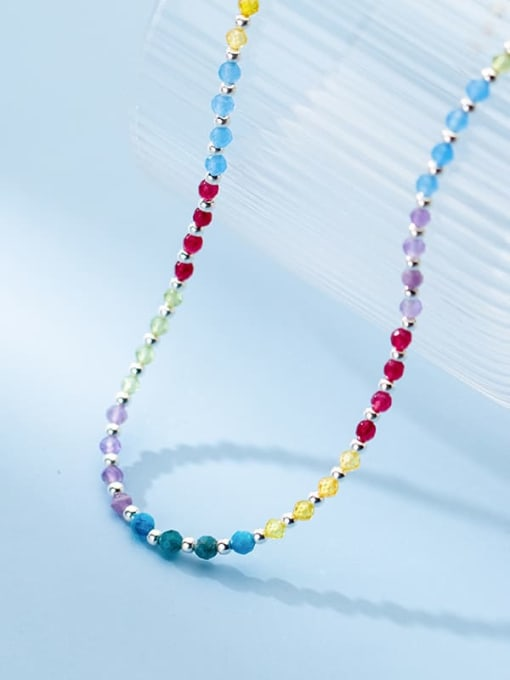 Rosh 925 Sterling Silver Bead Multi Color Round Minimalist Necklace 2