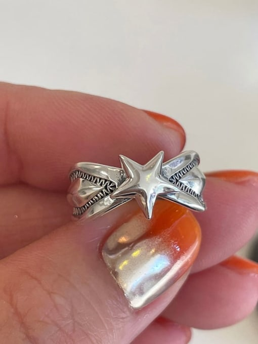 Boomer Cat 925 Sterling Silver Star Vintage Band Ring 2
