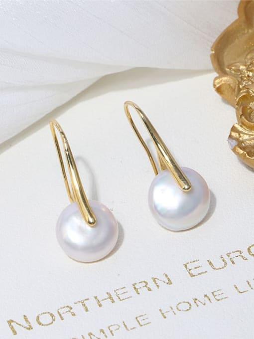 RAIN Brass Freshwater Pearl Geometric Minimalist Stud Earring 1