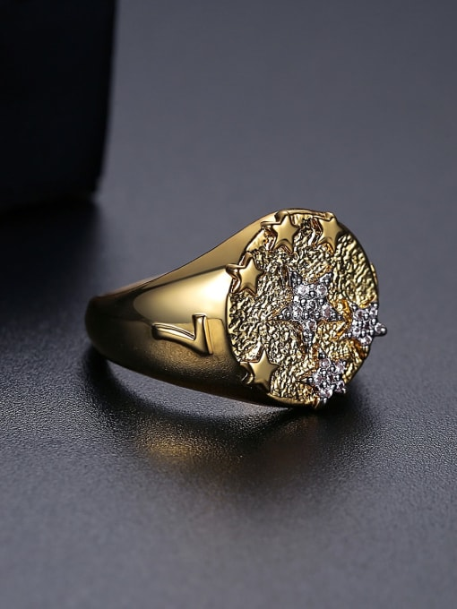 BLING SU Copper Two-color plating Geometric Vintage Band Ring 2