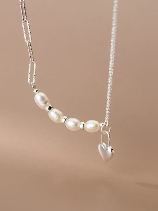 Rosh 925 Sterling Silver Freshwater Pearl Heart Minimalist Asymmetric chain Necklace 1