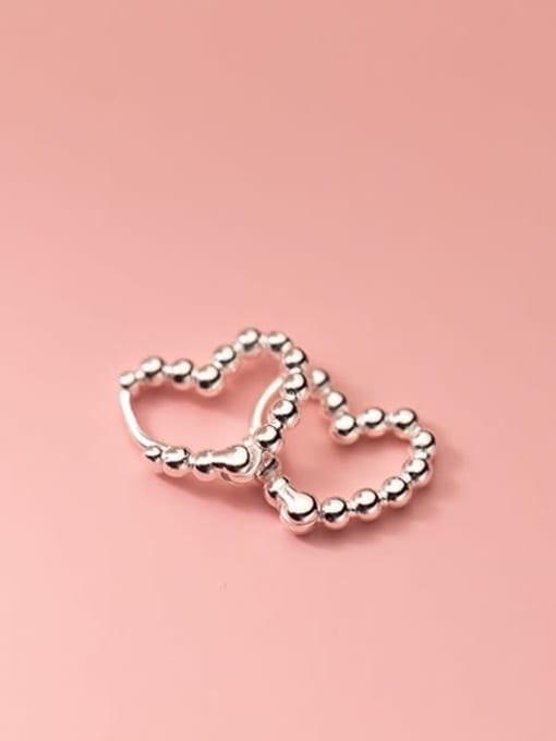 silver 925 Sterling Silver Bead Heart Minimalist Huggie Earring