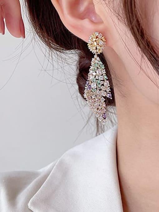 Luxu Brass Cubic Zirconia Geometric Luxury Drop Earring 2