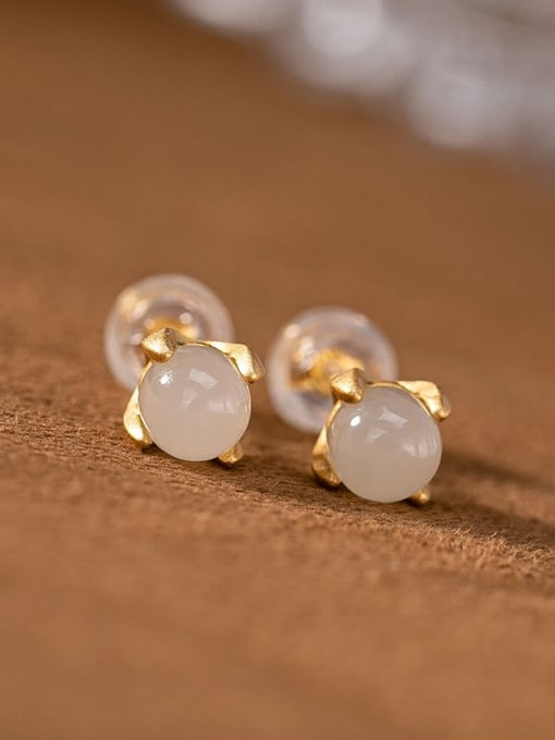 White jade (a pair) 925 Sterling Silver Jade Cute Round Ball  Stud Earring