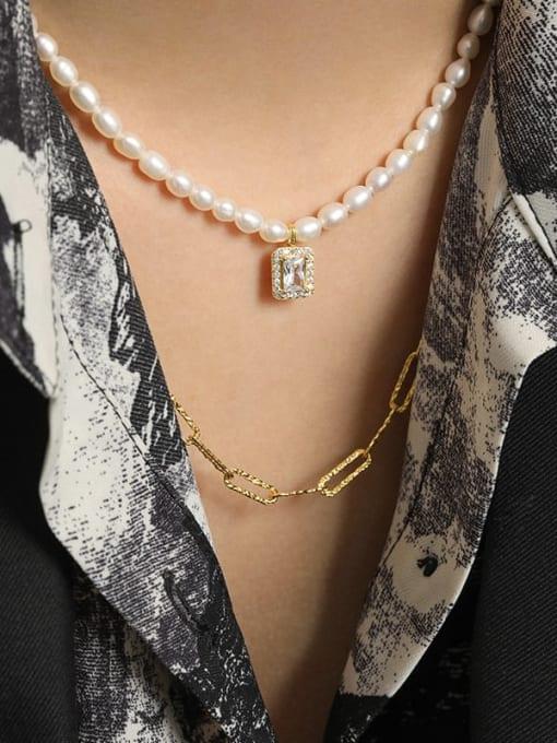 DAKA 925 Sterling Silver Freshwater Pearl Geometric Minimalist Necklace 2