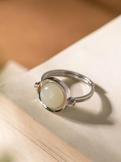 White jade silver 925 Sterling Silver Jade Geometric Vintage Band Ring