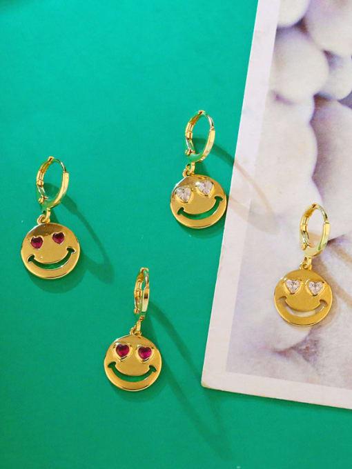 CC Brass Rhinestone Smiley Minimalist Huggie Earring 3