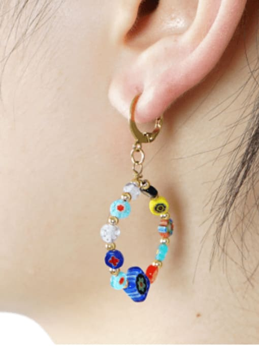 Roxi Stainless steel Glass  bead  Flower Ethnic Drop Earring 1