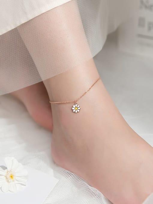 Rosh 925 Sterling Silver Enamel Flower Minimalist Anklet 3