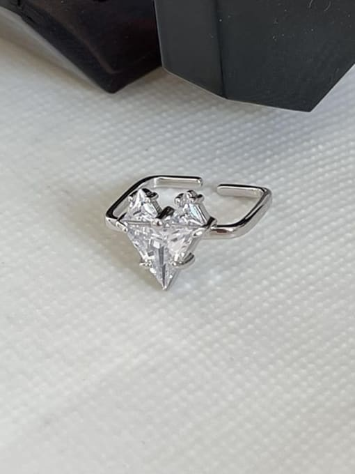 Boomer Cat 925 Sterling Silver Cubic Zirconia Heart Vintage Band Ring