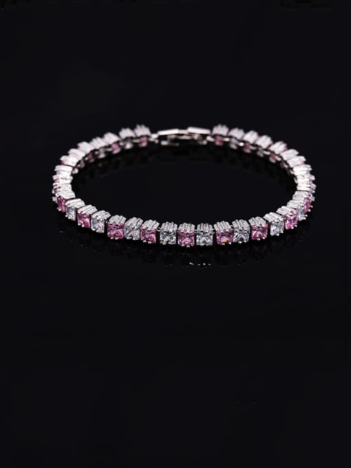 Pink 18.2cm Brass Cubic Zirconia Geometric Classic Bracelet