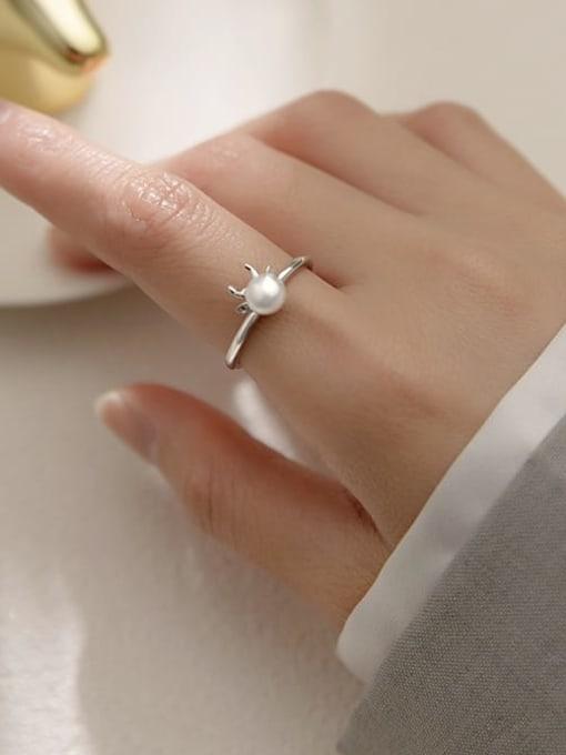 silver 925 Sterling Silver Imitation Pearl Irregular Minimalist Band Ring